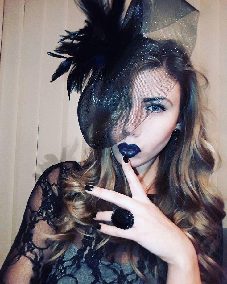 Halloween makeup Black lips Black widow Retro style