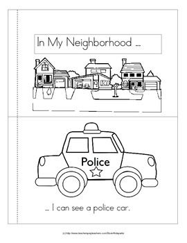 """***FREE*** This """"predictable-style"""" emergent reader is about vehicles that we might see in our neighborhood.  5 pages, 10 b/w reader pages."""