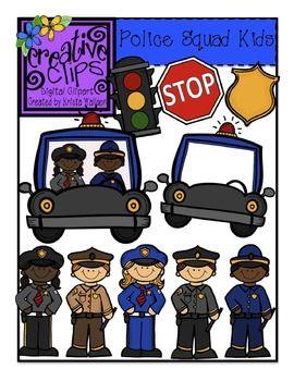 This 20-image bundle is full of fun, police squad kiddos and images. Included are 11 vibrant, colored images and 9 black and white versions. Personal and Commercial use $