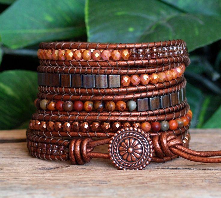Beaded Leather Five Wrap Bracelet Brown Copper by PJsPrettys