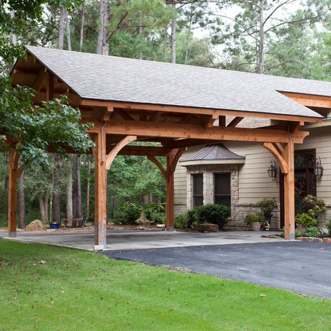 Timber frame carport all steel garages prefab steel for Attached garage kits