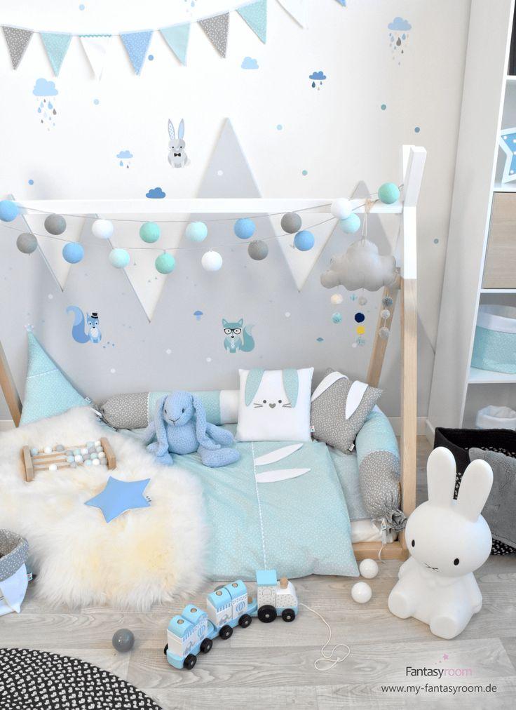 Waldtiere für Jungenzimmer in Blau & Mint