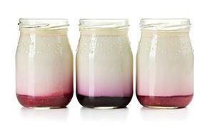 Zdravá svačinka ze sklenice plná chutného domácího jogurtu ochuceného nejlépe také domácím džemem s kousky ovoce.