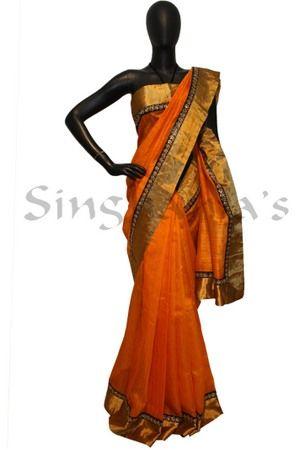 Designer Sarees, Sarees, Singhanias, Orange sabya silk saree with golden kanchi tissue border-BB438143 ,