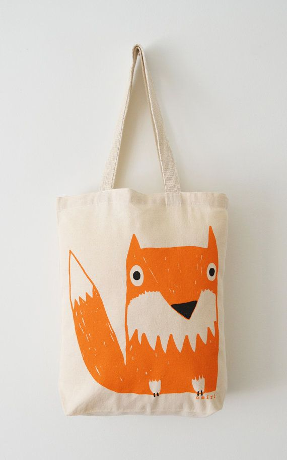 Fox Tote Bag, Hand Screen Printed Woodland Fox Design in Orange & Charcoal from miristudio on Etsy