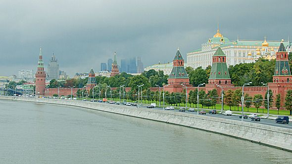 Moscow by AndrVlad Please Follow me if you like what I do and rate if you buy.Moscow panning shot with Moscow river, Kremlin, old and new buildings a