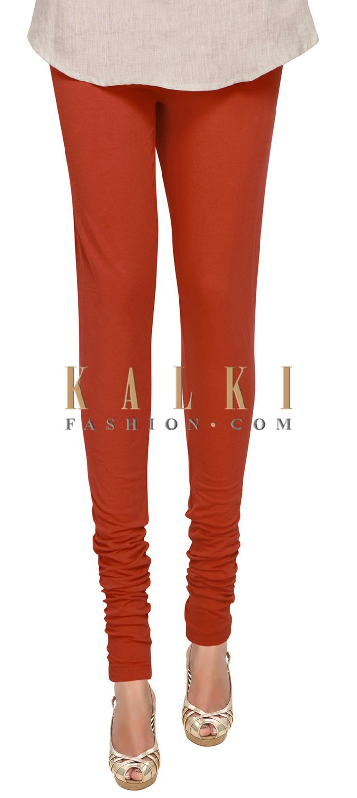 Buy Online from the link below. We ship worldwide (Free Shipping over US$100) Price- $9 Click Anywhere to Tag http://www.kalkifashion.com/rusty-red-cotton-hosiery-legging-only-on-kalki.html