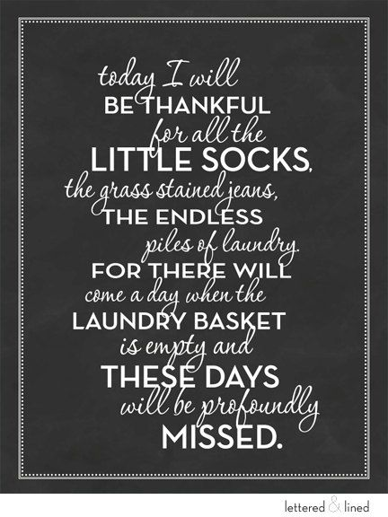 Today I will be thankful for all the little socks - print - Laundry, Sign, Vintage, Decor, Art, Wall, Chalk, Chalkboard