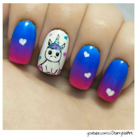 Cute Unicorn ⎮ Freehand Nail Art Tutorial – #Art #cute #Freehand #nail #tutori…
