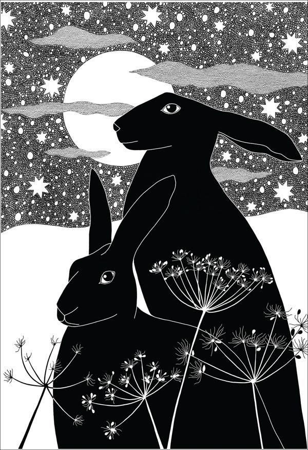 I'd love to know who did this, it's beautiful. Midnight Hare Christmas Cards