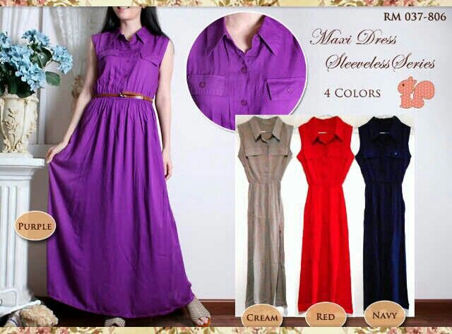 Maxi sleeveless, hrg 73rb, bhn katun rayon,free belt, fit L