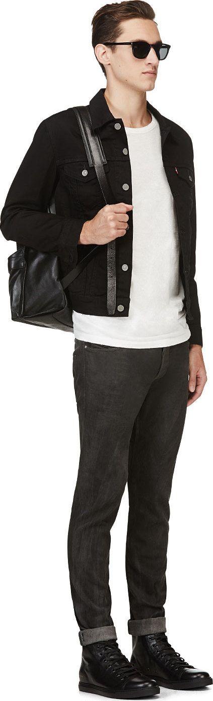 Levi's - BLACK DENIM THE TRUCKER JACKET: Denim Jackets, Levis Men Jackets Black, Trucker Jackets