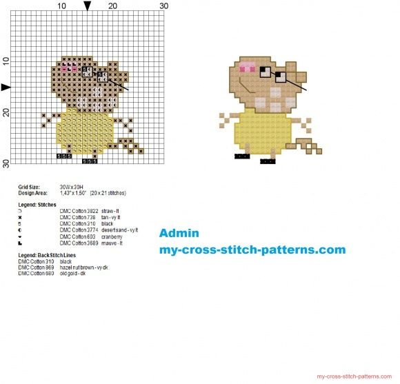 Pedro Pony from Peppa Pig small cross stitch pattern 20x21 (click to view)