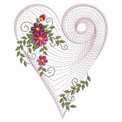 rings for women silver Rippled Floral Heart 2  6   3 Sizes    Floral   Flowers   Machine Embroidery