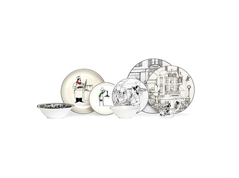 Le Restaurant is a quirky, fun casual epoch design which features a series of amusing #French bistro cartoons on an ivory porcelain body. | #thomasjewellers