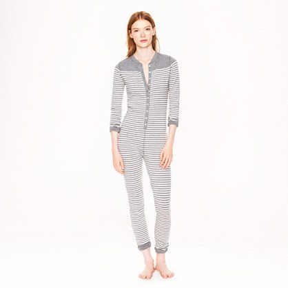 Union suit in stripe   REAR FLAP (!) and monogrammed