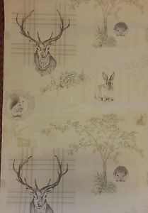 Quirky Highland Tartan Stag Tweed Knit Country Sketch Animals Woodland Wallpaper | eBay