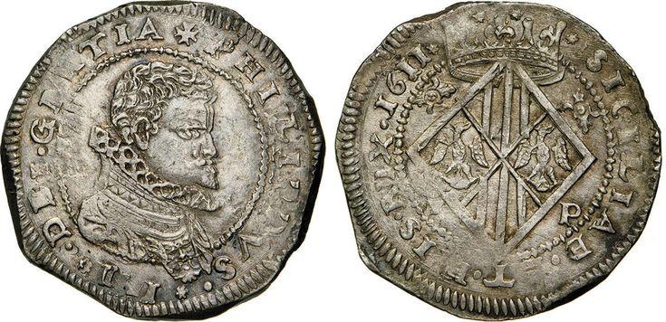 NumisBids: Numismatica Varesi s.a.s. Auction 65, Lot 425 : MESSINA - FILIPPO III (1598-1621) Scudo da 10 Tarì 1611, sigle I...