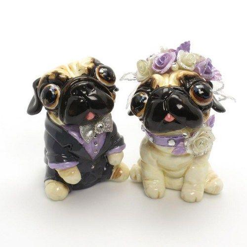 Pug Wedding Cake Topper Purple Lavender Wedding Color Scheme Handmade | madamepomm - Wedding on ArtFire