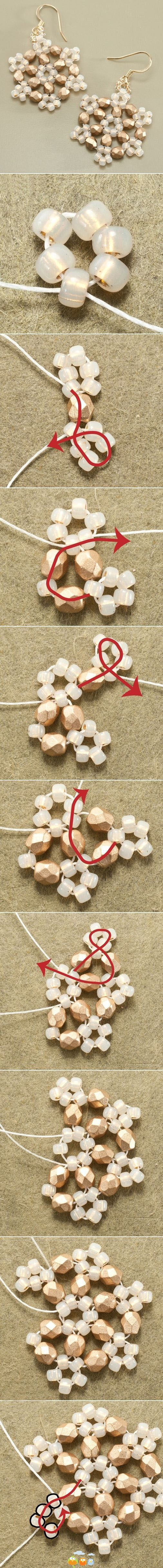 Quick & easy snowflake earrings (can also use as decorations) - not in English but really clear pics