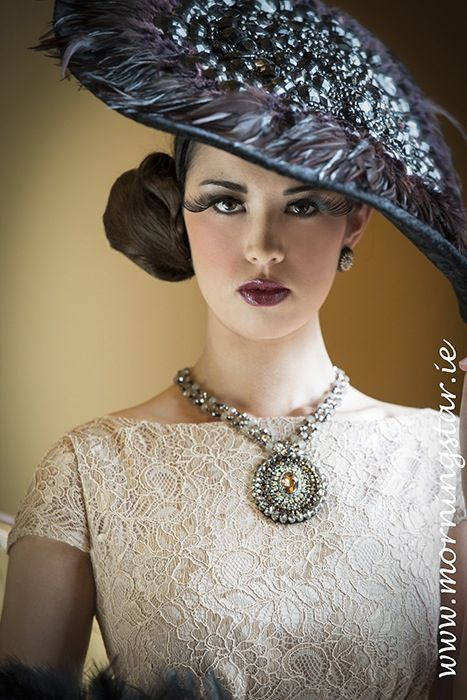 Black velvet and crystal headpiece