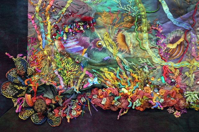 Underwater Detail by LaVeta Jude, via Flickr.  Judith Baker Montano.   This is just a small corner of a wonderful wall hanging.  Exquisite.