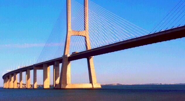Ponte Vasco da Gama, Parque das Nações, Lisboa, Portugal, Tejo, blue sky, blue river