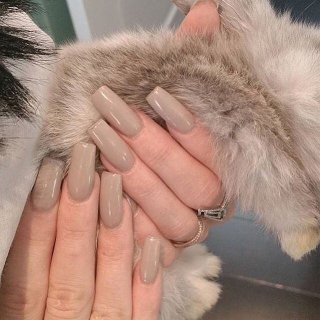 nude tan cream long square nails simple                              …