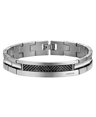Breil Men's Bracelet, Stainless Steel and Carbon Fiber Link Bracelet - Men's Jewelry - Jewelry & Watches - Macy's