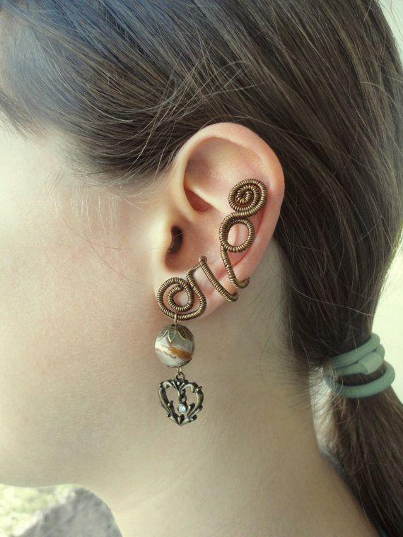 Oreille cristal gemme ne cuff aucun perçage pour les femmes / Pierre fil gainé de bijoux faits à la main / boucle d'oreille Cartilage cuff / Onyx bronze earcuff avec coeur