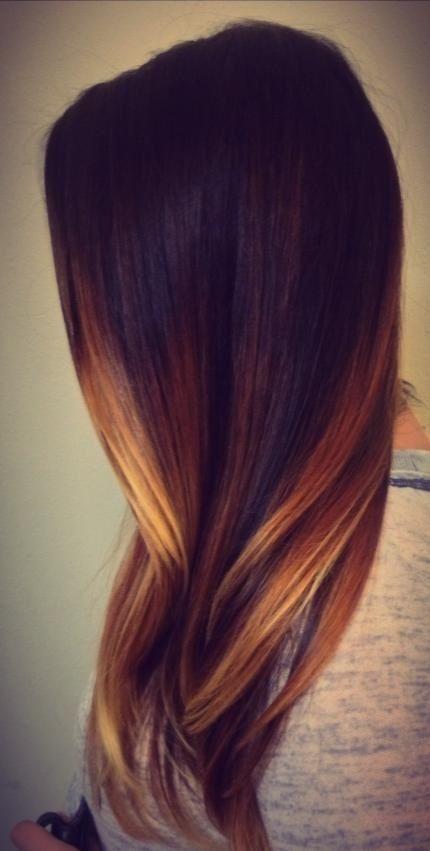 Dark brown / chocolate / caramel / golden blonde / balayage / warm / highlights / long hair / brunette / summer / hair color / ombré