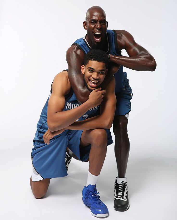 Minnesota Timberwolves Kevin Garnett and Karl-Anthony Towns goof around during a photo shoot on Oct. 6, 2015 at The Courts at Mayo Clinic Square in Minneapolis. KG—a 15-time All-Star, the 2003-04 MVP and 2007-08 Defensive Player of the Year—turned 40...