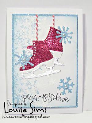 Spellbinders D-Lites Skates & Flakes die set.  Skating by to wish you 'Peace, Love & joy' ~ Louise Sims Papercrafter   #spellbloggers   #spellbinders   #neverstopmaking