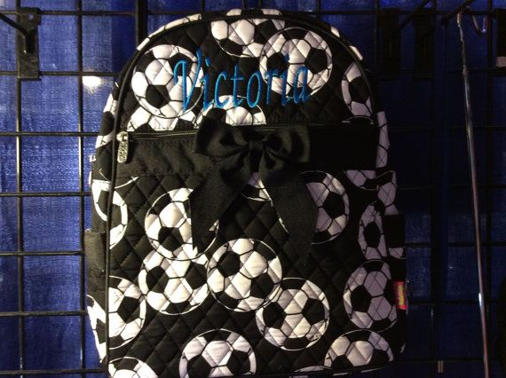 Soccer Ball Print Monogrammed Quilted Backpack by CoHoBags on Etsy