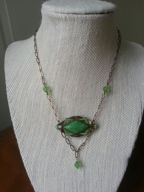 Repurposed Edwardian pin. I used crystals and Vintaj chain.
