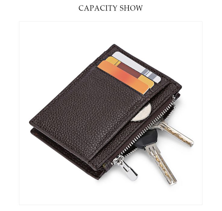 Leather Letter Solid Color Zipper Vertical <b>Mini</b> Wallet | leather