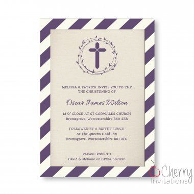 18 best elegant baby christening and baptism invitations images on stripe themed single sided personalised baby christening and baptism invitations from as little as stopboris Choice Image