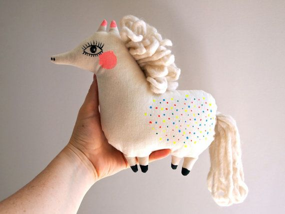 Pony cloth doll hand painted by JessQuinnSmallArt on Etsy, £32.00