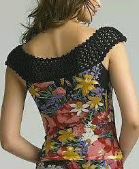 Resultado de imagen para blusas de tela con apliques crochet