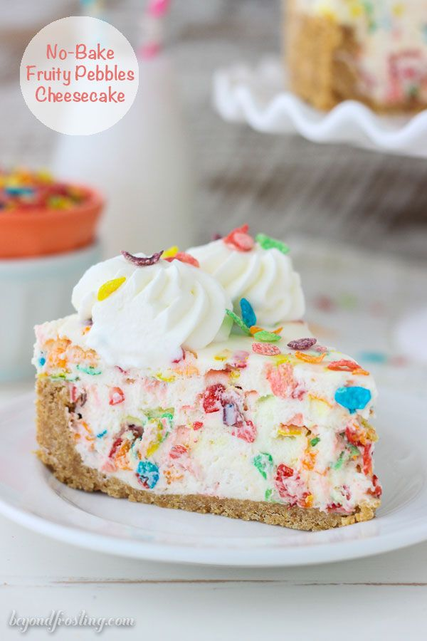 How fun is this No-Bake Fruity Pebbles Cheesecake? The Easy no-bake cheesecake filling is loaded with Fruity Pebbles and a Nilla Wafer crust.