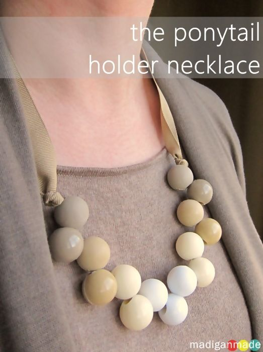 DIY Necklace from Ponytail Holder Hair Accessories ~ Madigan Made { simple DIY ideas }
