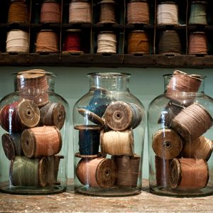 Antique Spools of Thread... Very Cool Collection and Display!!!