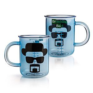 "$12.99 Breaking Bad Beaker Mug •Glass Breaking Bad Beaker Mug  •Officially-licensed Breaking Bad merchandise  •Mug features measurements in milliliters and the face of Heisenberg  •Not ideal for cooking up ""the blue,"" but makes a great gift  •Goes great with a blue rock candy stirrer  •Materials: Glass  •Not dishwasher or microwave safe  •Ages 12+"