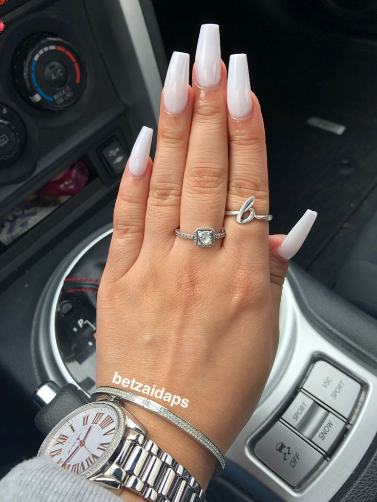 soft white coffin nail #acrylic #coffinshape | claws in ...