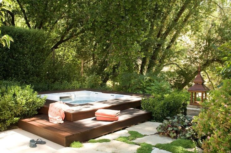 sunken hot tub by Christopher Hoover - Environmental Design Services [12 Naturally Beautiful Hot Tubs]