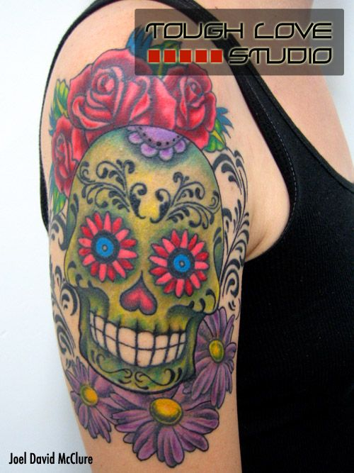 Green Sugar Skull Tattoo with Flowers | Joel David McClure | Tough Love Studio