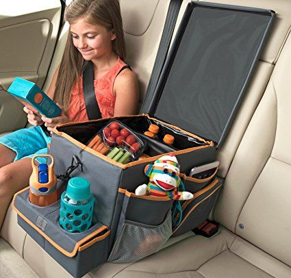 Make something like this with fabric, foam board, pillow filler, and stretchy material for pockets. Add lots of cool pockets, snap on items, and snack holder/drink holder areas. OR you can buy it. High Road Kids Car Seat Cooler and Back Seat Organizer with Snack & Play Tray