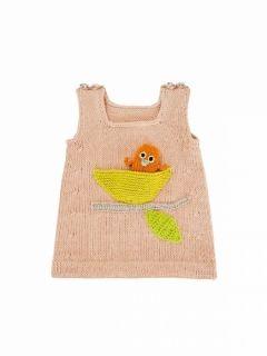 Stickbeskrivning till baby upp till 2 år till sött linne med fågelrede & f&arin...