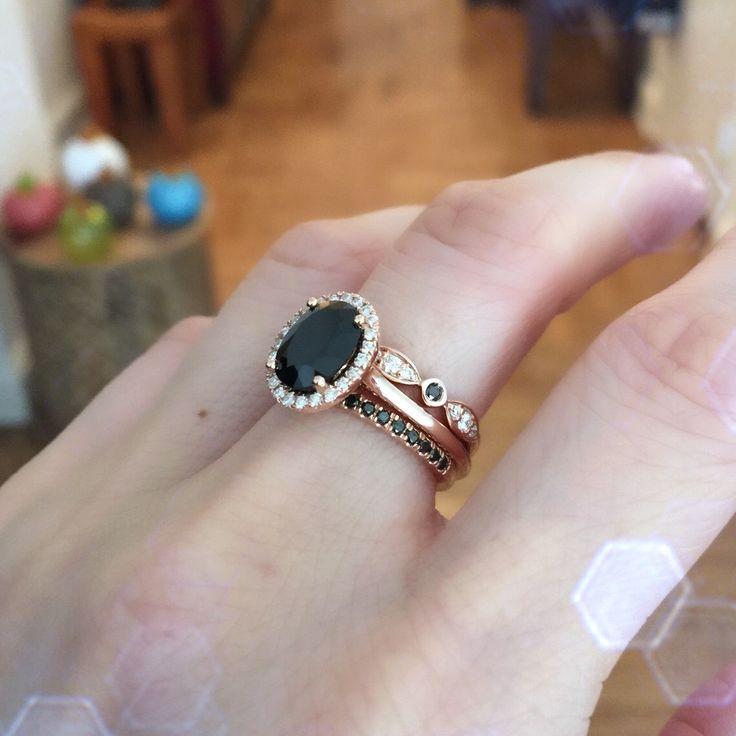 14k rose gold trio wedding set halo diamond black spinel engagement ring and bezel scalloped black and white diamond wedding band