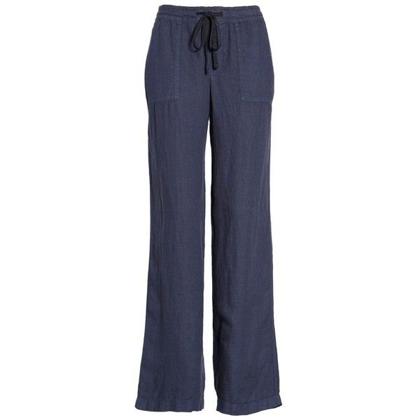 Women's Caslon Drawstring Linen Pants ($59) ❤ liked on Polyvore featuring pants, navy peacoat, petite, petite drawstring pants, navy trousers, linen drawstring pants, petite trousers and navy linen pants